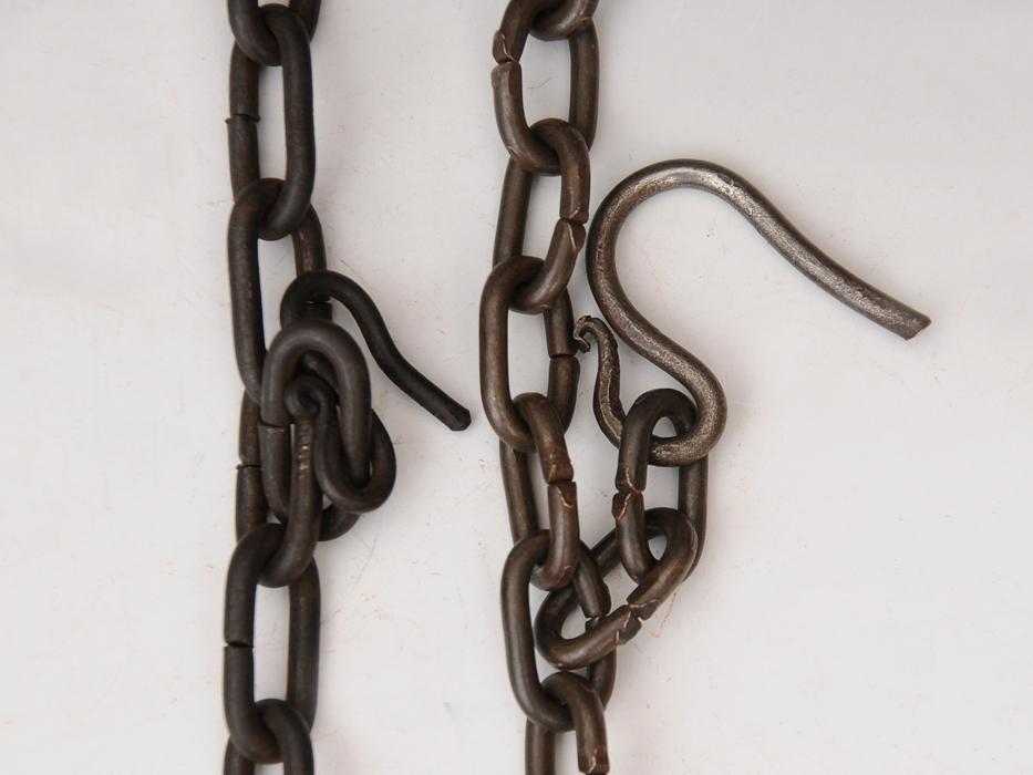 釣釜用 鎖(くさり)2本 釣 弦(つる)セット 茶道具 煎茶道具 金属工芸 現代工芸 b5322o_画像5
