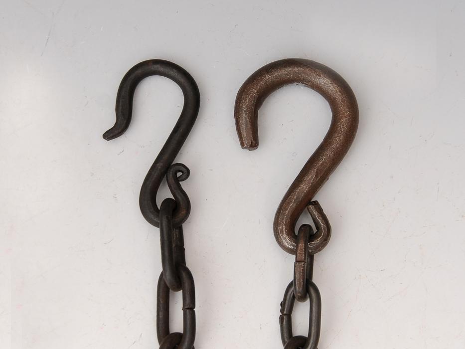 釣釜用 鎖(くさり)2本 釣 弦(つる)セット 茶道具 煎茶道具 金属工芸 現代工芸 b5322o_画像3