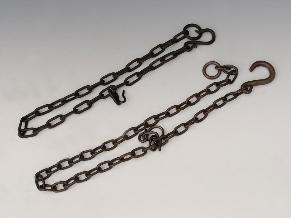 釣釜用 鎖(くさり)2本 釣 弦(つる)セット 茶道具 煎茶道具 金属工芸 現代工芸 b5322o_画像2
