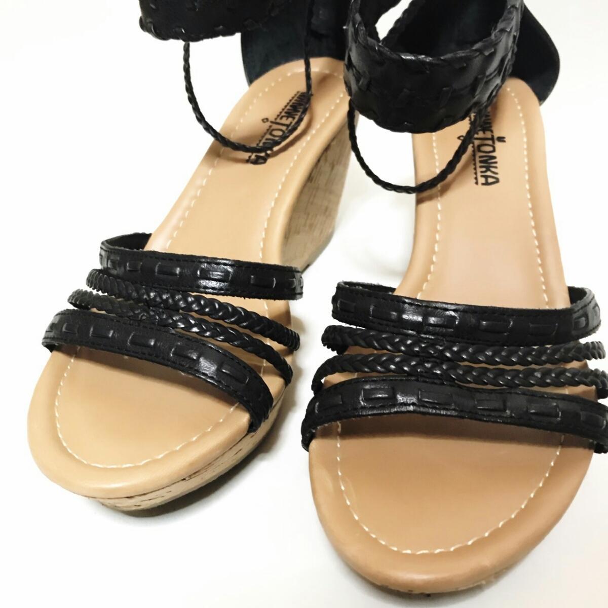 MINNE TONKA 23.5cmぐらい 3E レディース サンダル パンプス ブラック 黒 ミネトンカ 婦人 靴 くつ 中古 g001_画像6