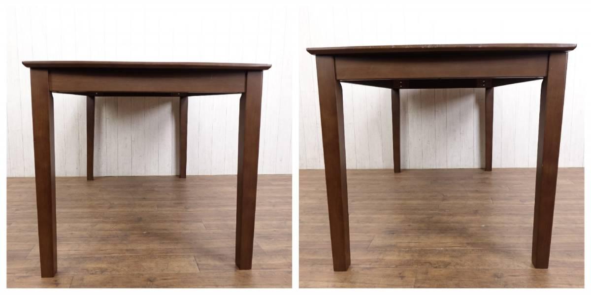 木製 ダークブラウン ◆ ダイニングテーブル [ 幅135cm 高さ69.5cm 奥行75cm ] 管理49381_画像4
