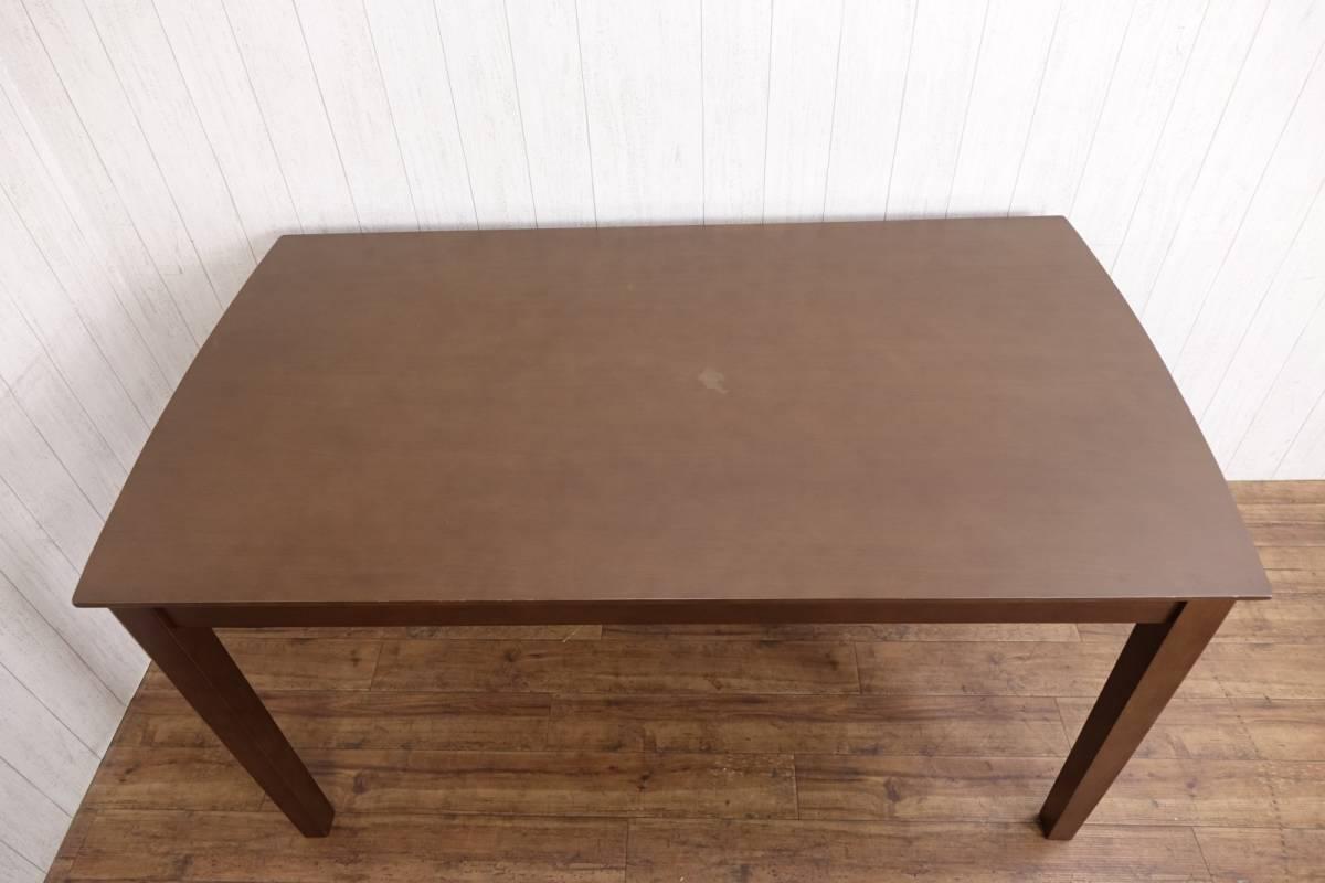木製 ダークブラウン ◆ ダイニングテーブル [ 幅135cm 高さ69.5cm 奥行75cm ] 管理49381_画像6
