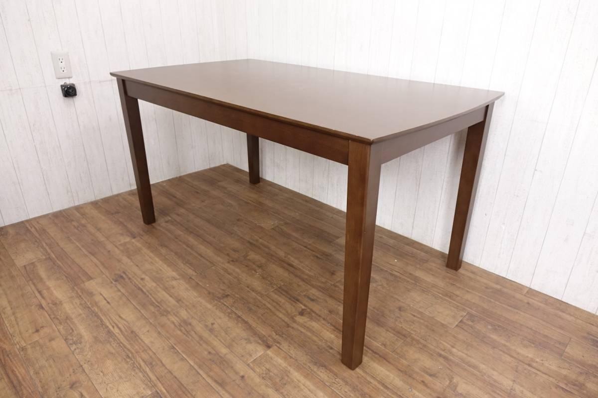 木製 ダークブラウン ◆ ダイニングテーブル [ 幅135cm 高さ69.5cm 奥行75cm ] 管理49381_画像1