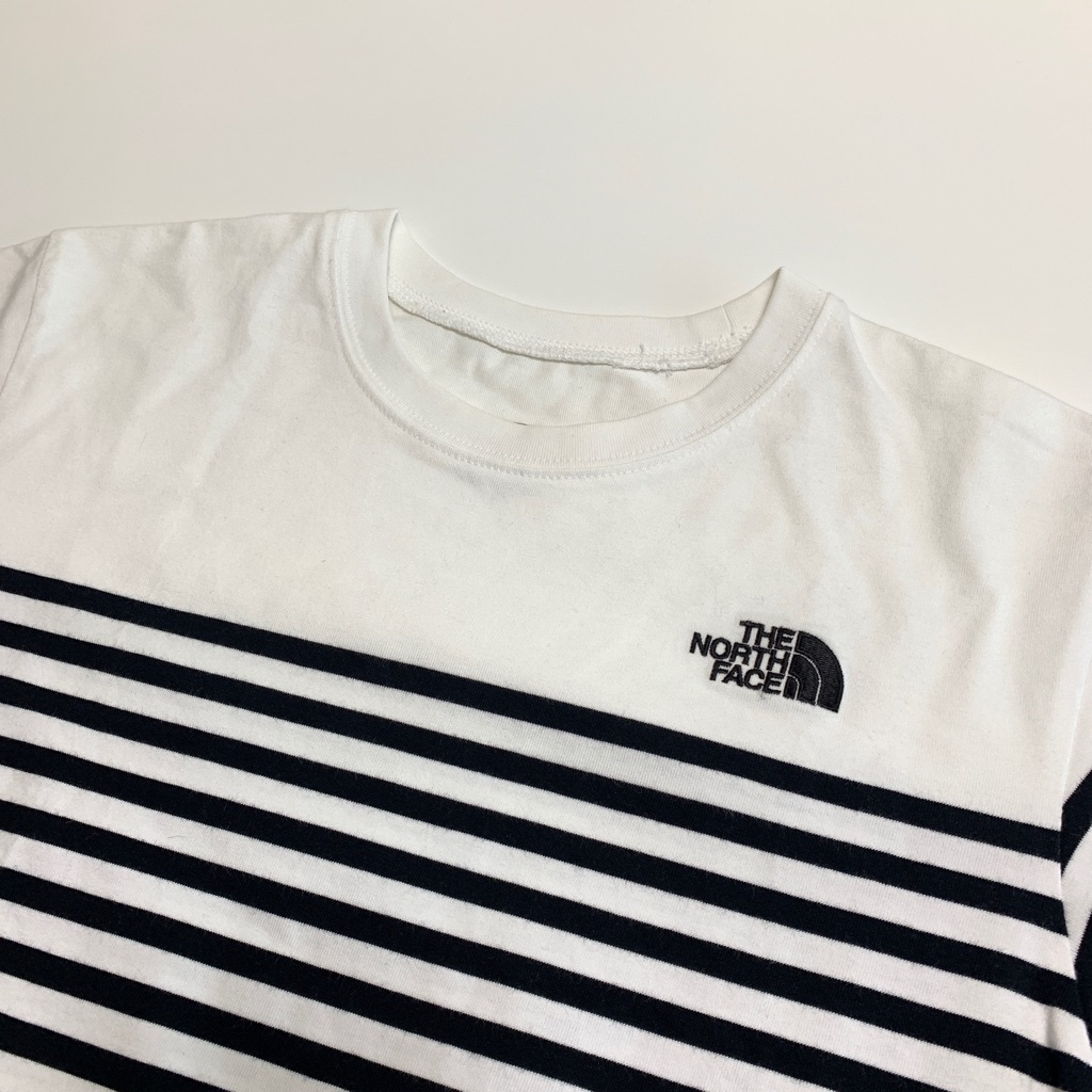 完売★THE NORTH FACEノースフェイス セオアルファボーダーTシャツ メンズM 白ホワイトネイビーボーダー NT31713 吸汗速乾 肉厚 ロゴ刺繍_画像3