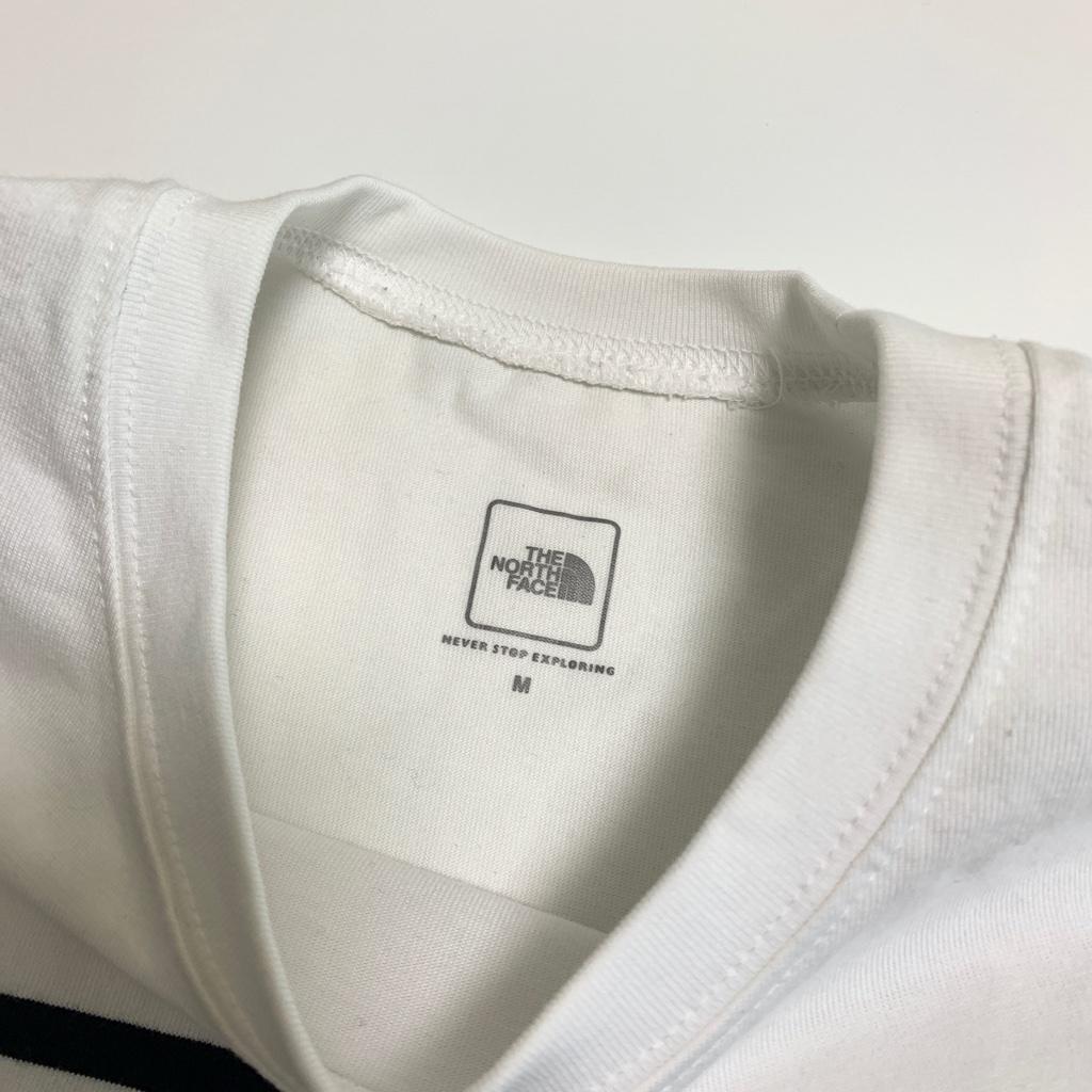完売★THE NORTH FACEノースフェイス セオアルファボーダーTシャツ メンズM 白ホワイトネイビーボーダー NT31713 吸汗速乾 肉厚 ロゴ刺繍_画像4