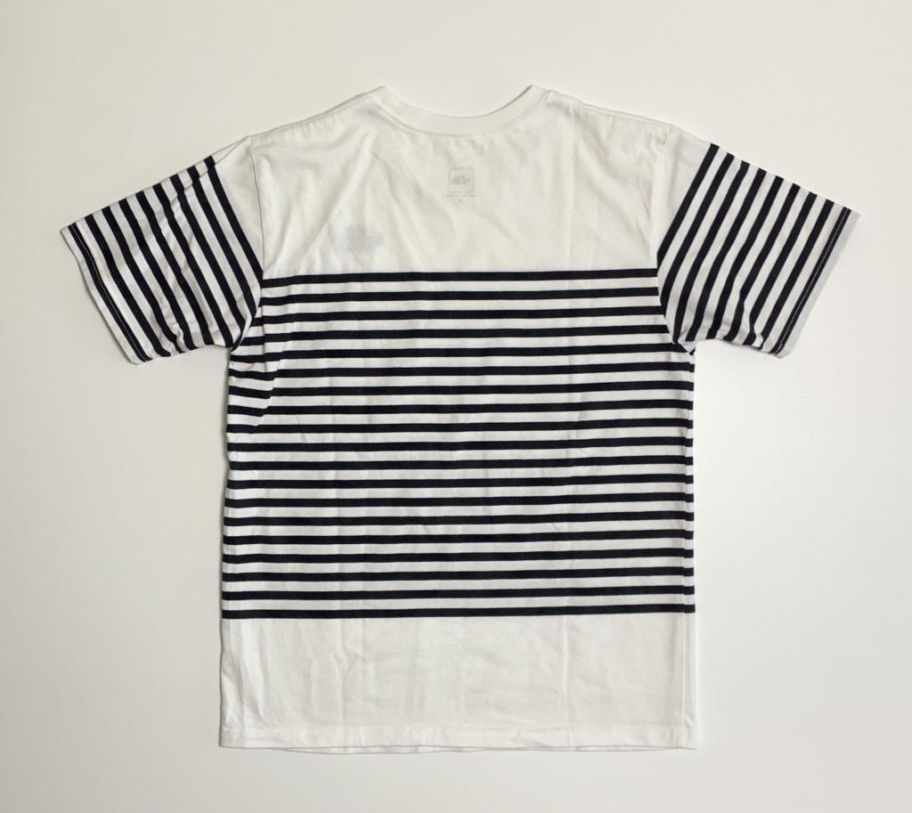 完売★THE NORTH FACEノースフェイス セオアルファボーダーTシャツ メンズM 白ホワイトネイビーボーダー NT31713 吸汗速乾 肉厚 ロゴ刺繍_画像2