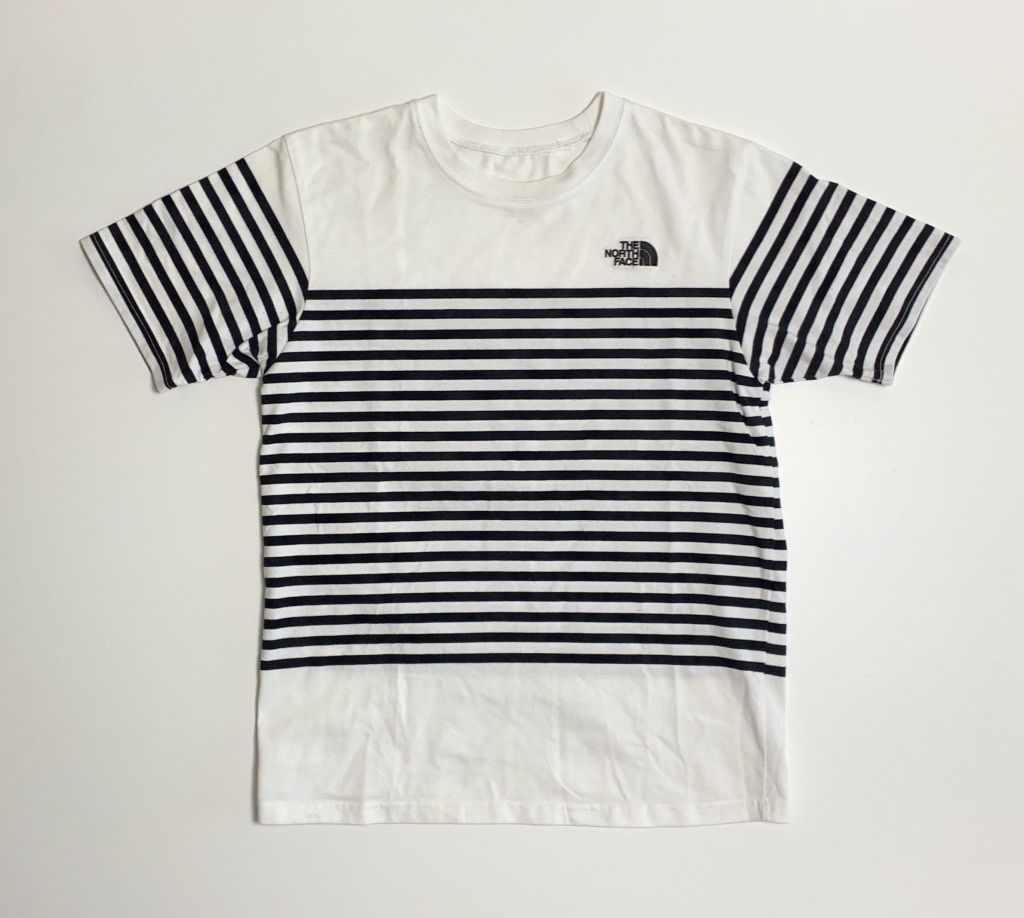 完売★THE NORTH FACEノースフェイス セオアルファボーダーTシャツ メンズM 白ホワイトネイビーボーダー NT31713 吸汗速乾 肉厚 ロゴ刺繍