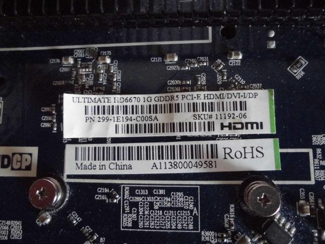 SAPPHIRE (サファイア) ULTIMATE HD6670 1G GDDR5 PCI-E HDMI/DVI-I/DP BOX 型番 11192-06-20G ファンレスです。_画像10