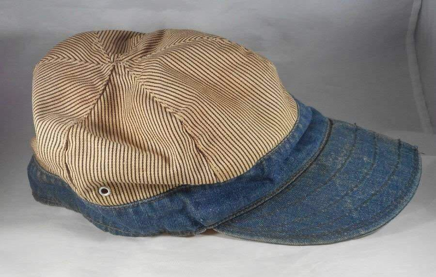 1930s 1940s 30's 40's Vintage デニム×ストライプ ヴィンテージ ワークキャップ ★lee head light carhartt ハウスマーク KROMER _画像2