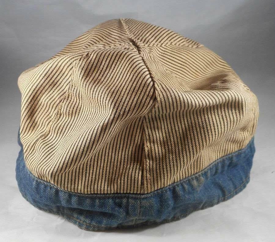 1930s 1940s 30's 40's Vintage デニム×ストライプ ヴィンテージ ワークキャップ ★lee head light carhartt ハウスマーク KROMER _画像4