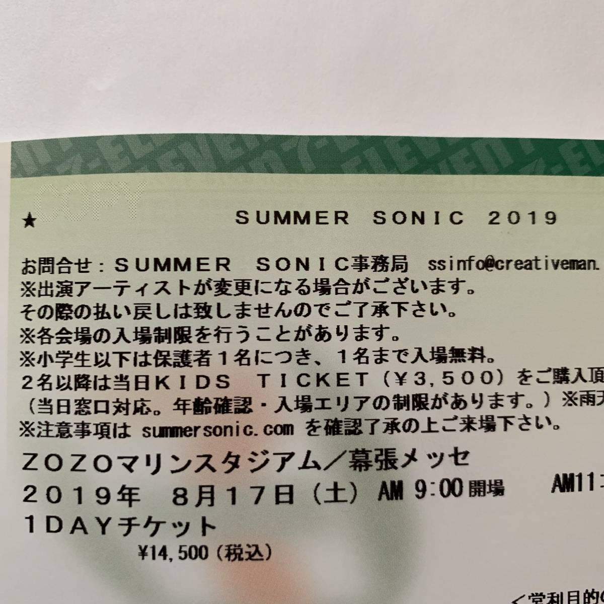 サマソニ SUMMER SONIC 2019 8月17日(土) 1DAYチケット 1枚 ZOZOマリン/幕張メッセ 送料込み