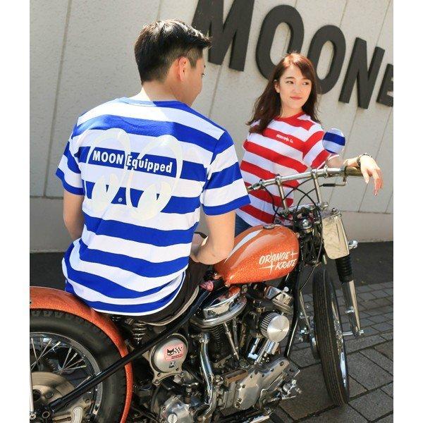 Mサイズ MOONEYES Tシャツ ムーンアイズ 赤 レッド × ホワイト ボーダー moon equipped アイシェイプ eyeshape 188円発送可_ブルーも別で出品中です。