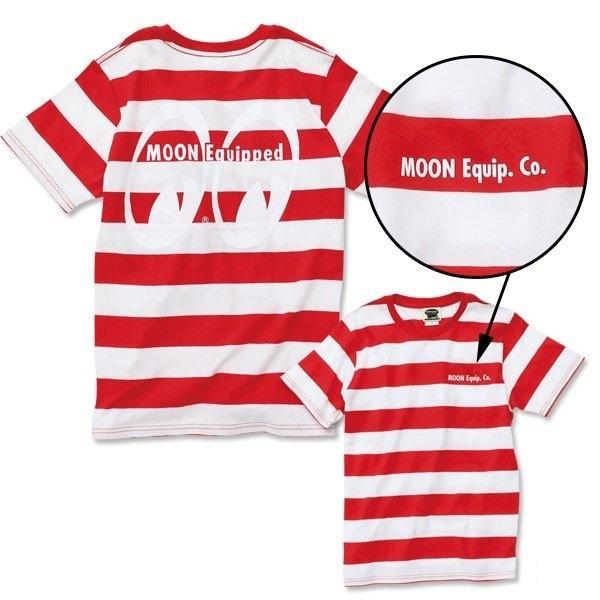 Mサイズ MOONEYES Tシャツ ムーンアイズ 赤 レッド × ホワイト ボーダー moon equipped アイシェイプ eyeshape 188円発送可_画像1
