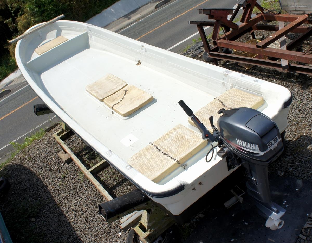始動OK!格安!ヤマハ 和船(5m) ヤマハ 9.9馬力 船外機 バーハンドル インペラ交換済み! 船舶/和船_画像2