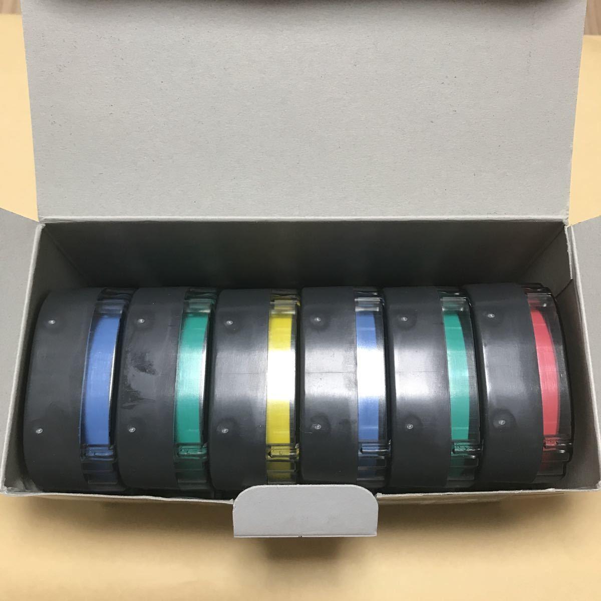 新品 未使用 テプラ 12mm 7個 セット まとめて TEPRA キングジム PRO 透明 大量 青 黄色 緑 赤_画像3