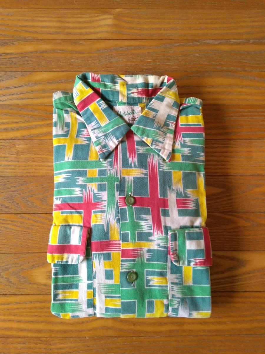 ビンテージ美品40s~50s プリントネルシャツ