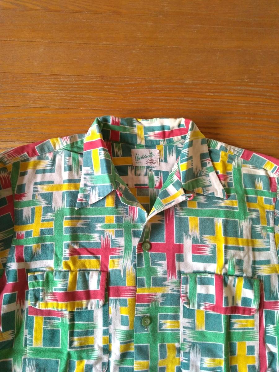 ビンテージ美品40s~50s プリントネルシャツ _画像2
