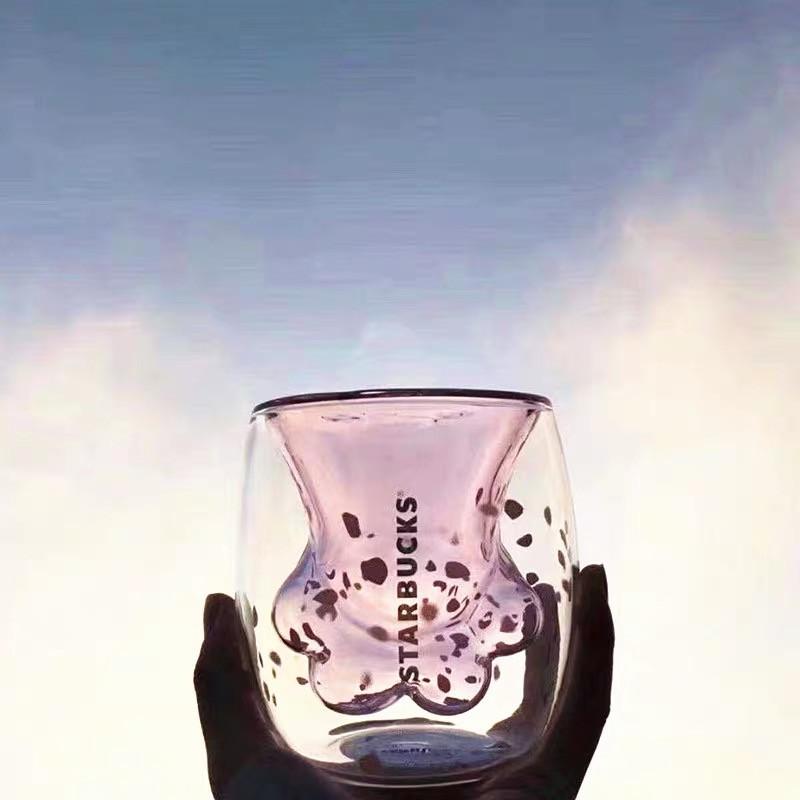 大人気の 限定商品 Starbucks 猫の手 いのガラスコップ 桜花粉 可愛 _画像3
