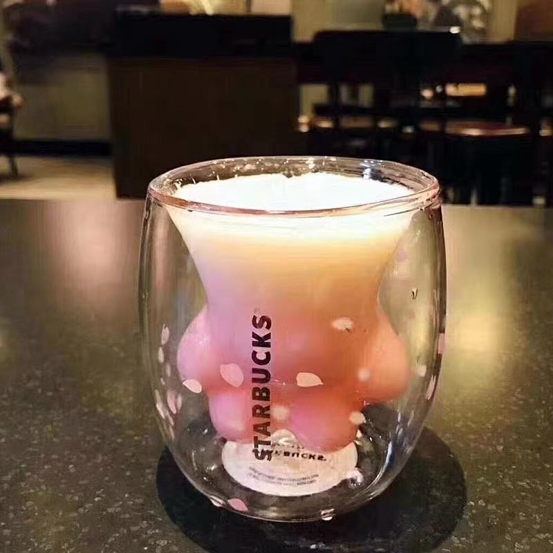 大人気の 限定商品 Starbucks 猫の手 いのガラスコップ 桜花粉 可愛 _画像2