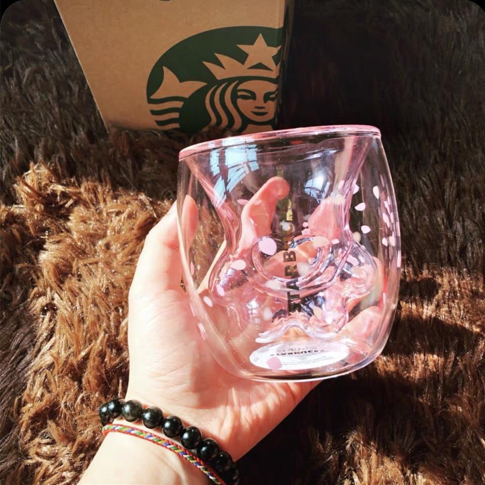 大人気の 限定商品 Starbucks 猫の手 いのガラスコップ 桜花粉 可愛