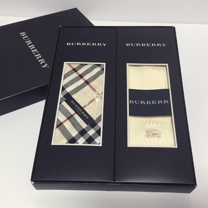 バーバリー/BURBERRY ハンカチ/ソックス 各1 箱入りセット 日本製 父の日【3271,3272】