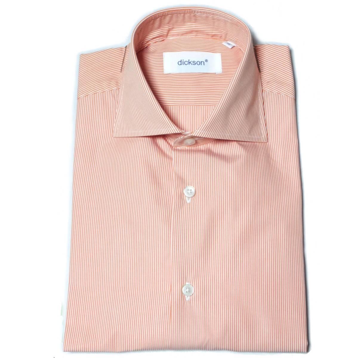 [dickson]サイズ38:ドレスシャツ メンズ 白xオレンジのヘアラインストライプ 長袖 コットン ワイシャツ Canclini_画像2