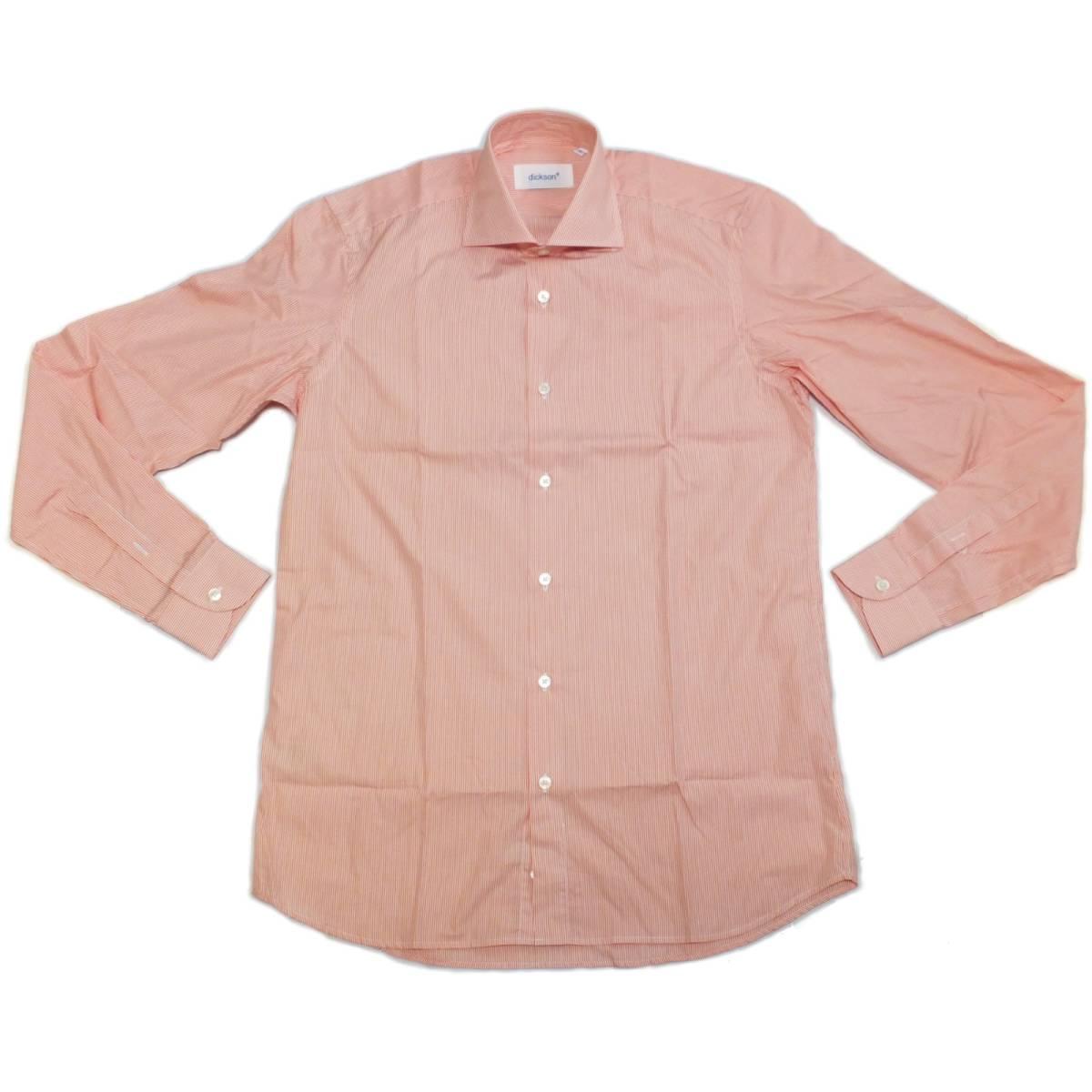 [dickson]サイズ38:ドレスシャツ メンズ 白xオレンジのヘアラインストライプ 長袖 コットン ワイシャツ Canclini_画像3