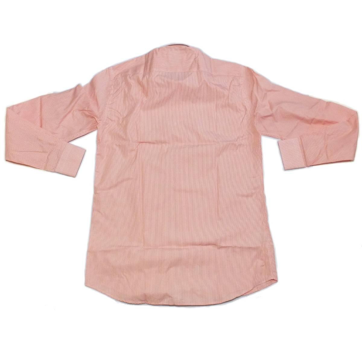 [dickson]サイズ38:ドレスシャツ メンズ 白xオレンジのヘアラインストライプ 長袖 コットン ワイシャツ Canclini_画像4