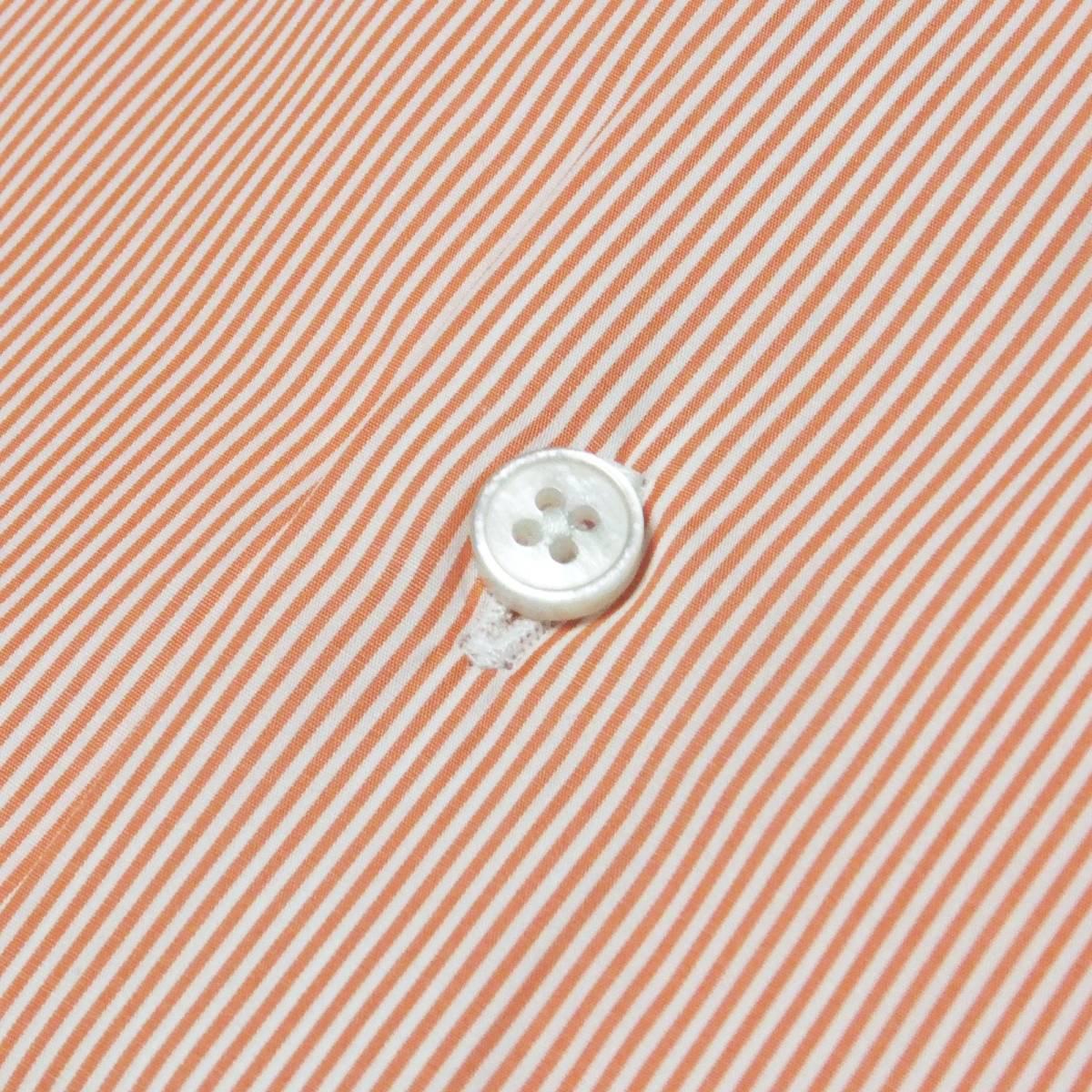 [dickson]サイズ38:ドレスシャツ メンズ 白xオレンジのヘアラインストライプ 長袖 コットン ワイシャツ Canclini_画像6