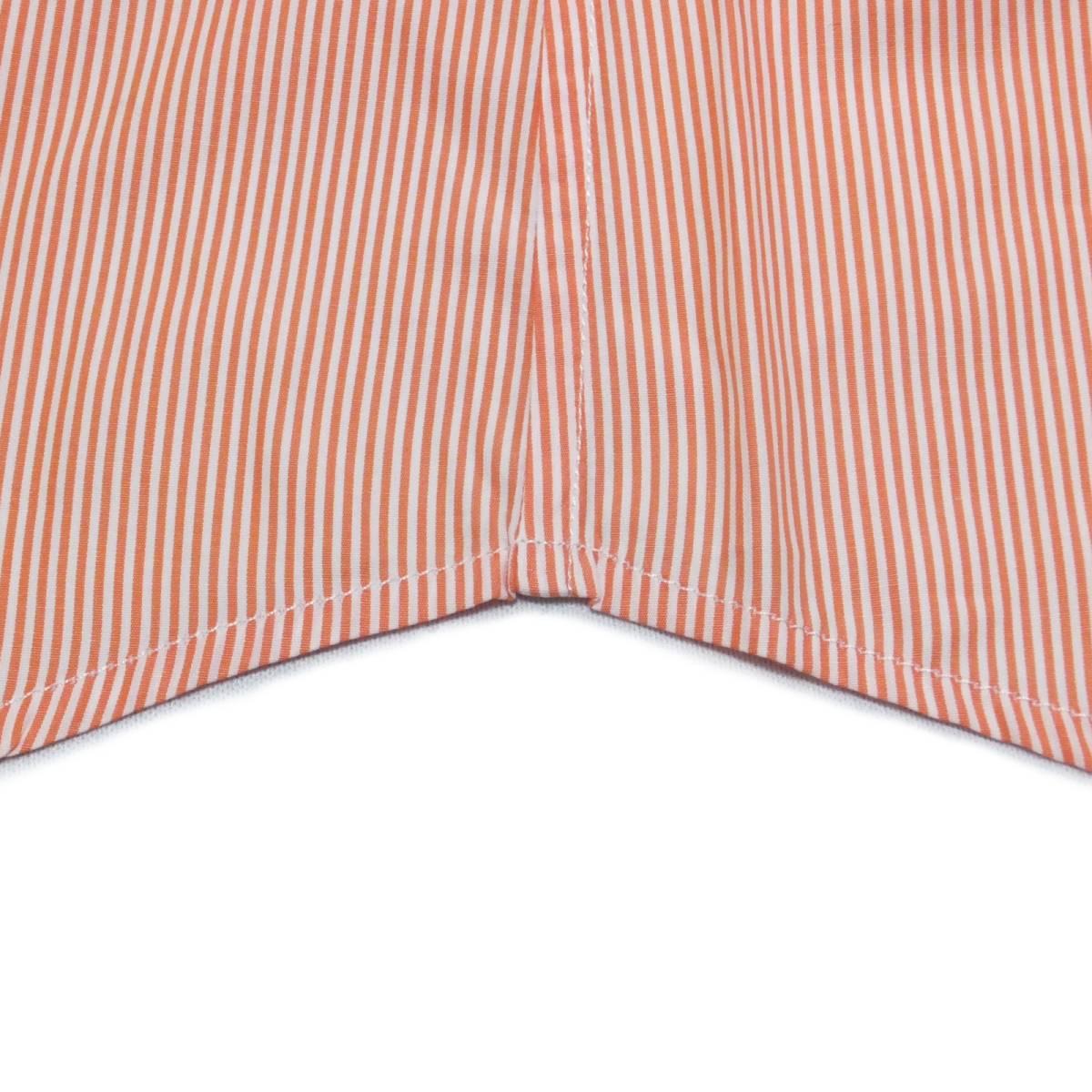 [dickson]サイズ38:ドレスシャツ メンズ 白xオレンジのヘアラインストライプ 長袖 コットン ワイシャツ Canclini_画像7