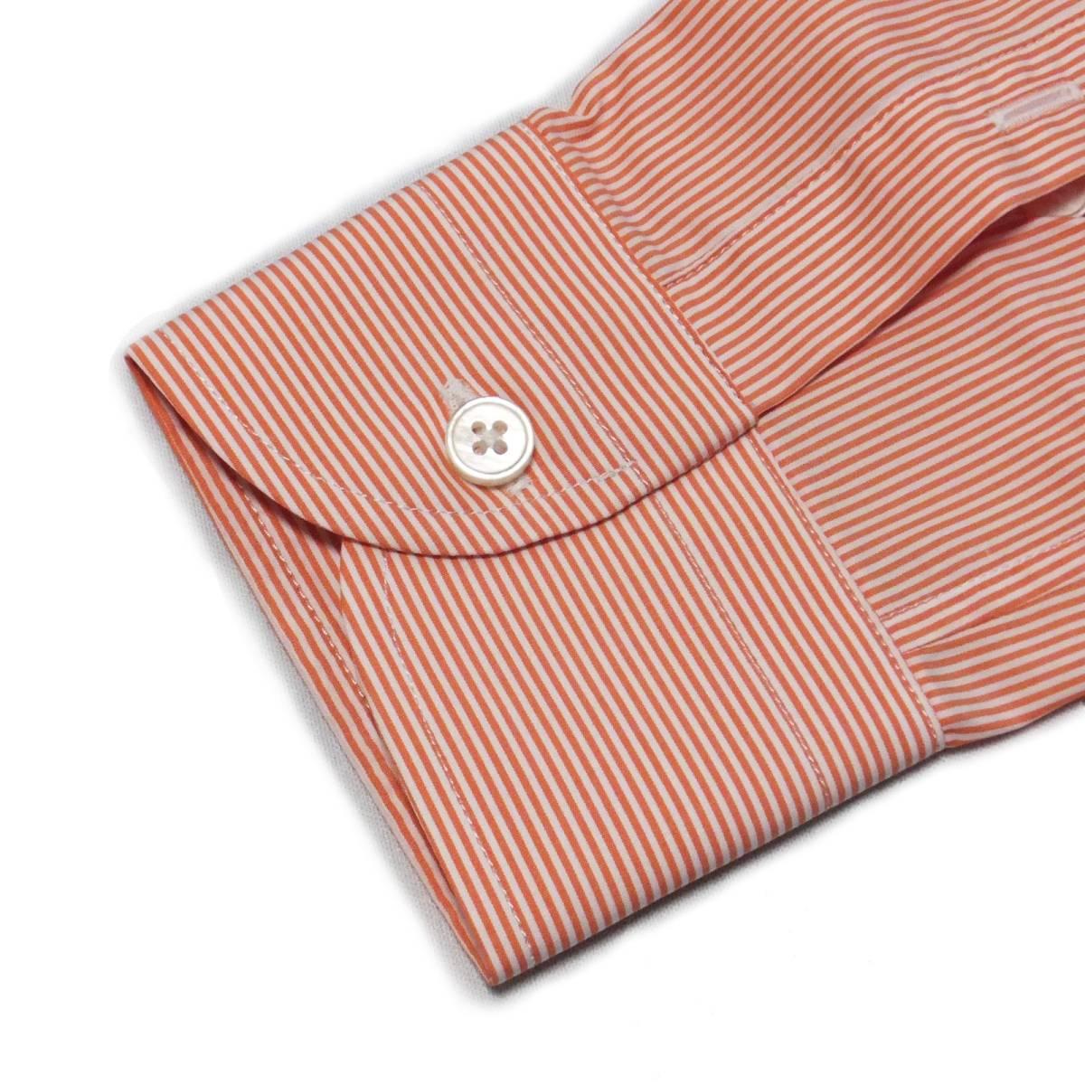 [dickson]サイズ38:ドレスシャツ メンズ 白xオレンジのヘアラインストライプ 長袖 コットン ワイシャツ Canclini_画像8
