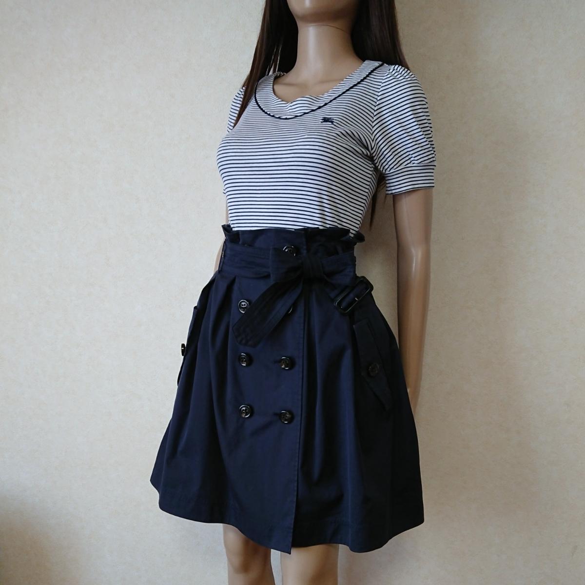38☆BURBERRY BLUELABEL バーバリーブルーレーベル トレンチスカート ネイビー ドッキングワンピースのように♪