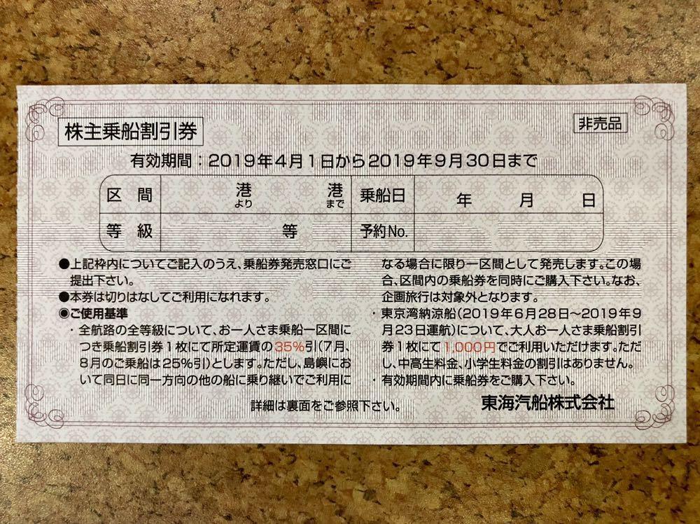 東海汽船 株主優待 株主乗船割引券 2枚セット(即決あり)_画像3