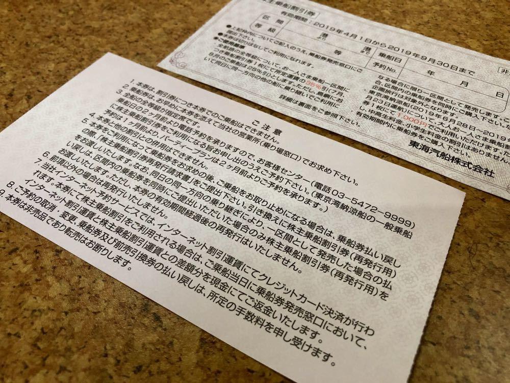 東海汽船 株主優待 株主乗船割引券 2枚セット(即決あり)_画像2