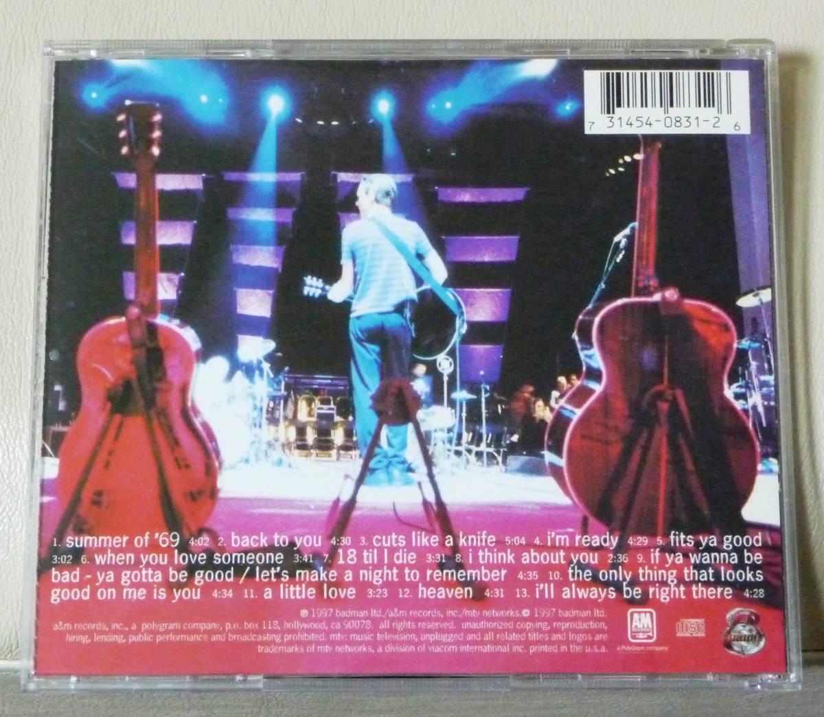 ★【中古CD】★ブライアン・アダムス Bryan Adams / 『MTV アンプラグド MTV Unplugged [Live]』★