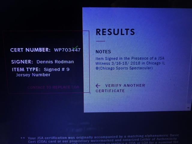 JSA証明書付 NBA 本人 直筆サイン デニス ロッドマン オーセンティック ユニフォーム シカゴ ブルズ Dennis Rodman バスケットボール NIKE_画像3