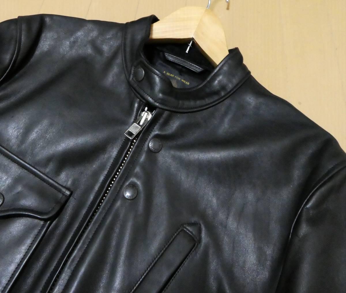 USA製 エンジニアードガーメンツ×ゴールデンベア Engineered Garments×GOLDEN BEAR 馬革 ホースハイド ライダースジャケット クラブマン _画像3