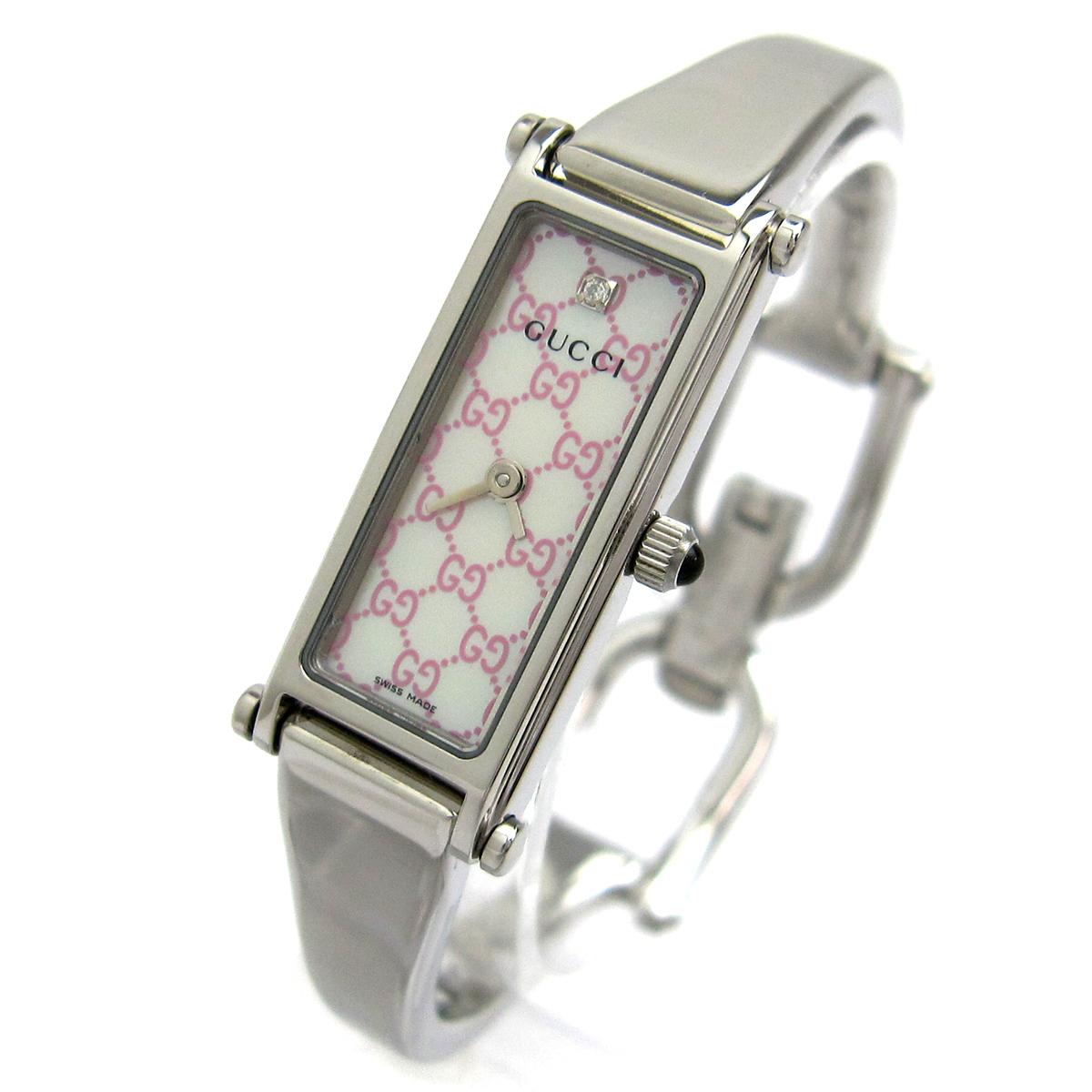 【1円良品】GUCCI グッチ 腕時計 1500L レディース ピンク シェル文字盤 1Pダイヤ スクエア 箱付き 可動品_画像3