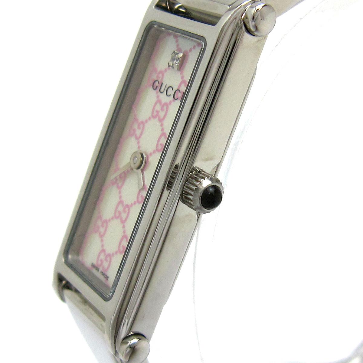 【1円良品】GUCCI グッチ 腕時計 1500L レディース ピンク シェル文字盤 1Pダイヤ スクエア 箱付き 可動品_画像4