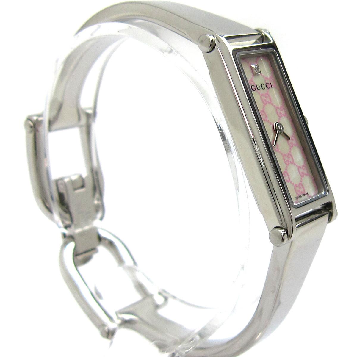 【1円良品】GUCCI グッチ 腕時計 1500L レディース ピンク シェル文字盤 1Pダイヤ スクエア 箱付き 可動品_画像5