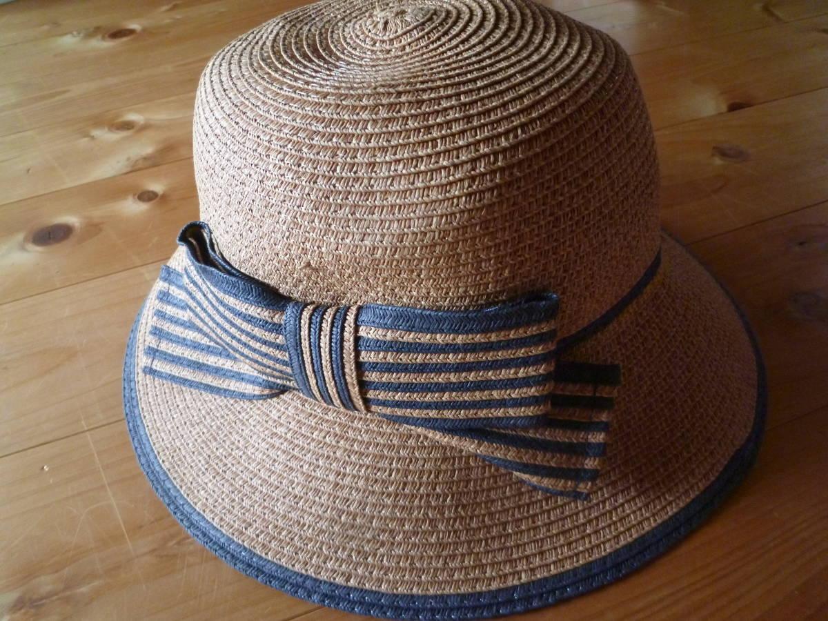 エコロコ購入♪カプリーヌハット♪ストローハット♪麦わら風帽子♪リボン付き♪ボーダー♪新品格安_画像2