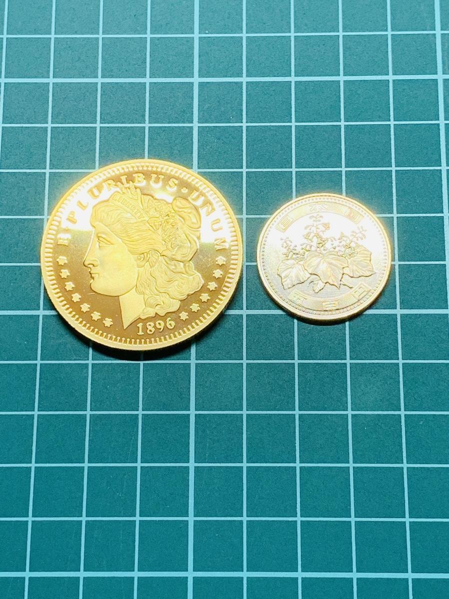 Ω1896年 アメリカ モルガンダラー アンティーク メダルコイン 不発行未発行試鋳 古銭硬貨貨幣金貨 レア記念希少 外国復刻参考レプリカみ5_画像6