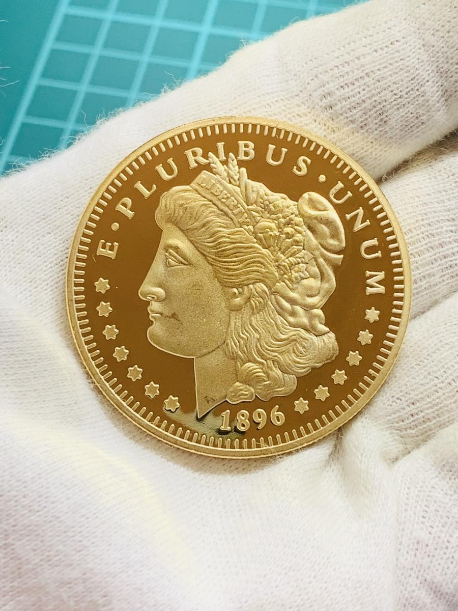 Ω1896年 アメリカ モルガンダラー アンティーク メダルコイン 不発行未発行試鋳 古銭硬貨貨幣金貨 レア記念希少 外国復刻参考レプリカみ5_画像4