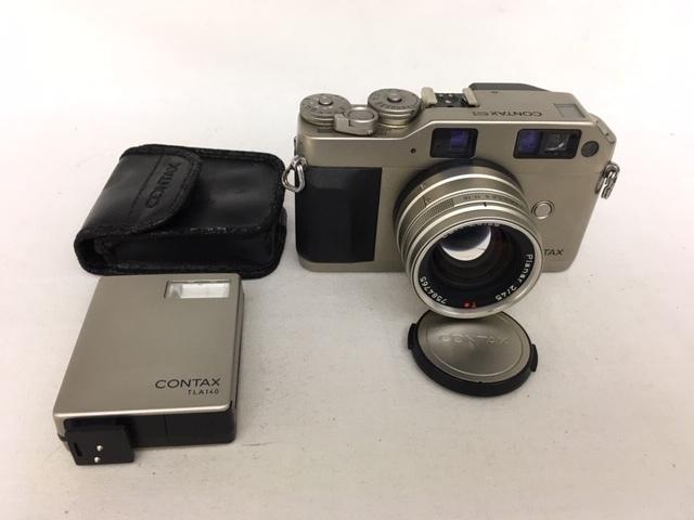 【大黒屋】激安1円~ CONTAX コンタックス 一眼レフ フィルムカメラ G1 レンズ Carl Zeiss Planar 2/45 フラッシュ TLA140 中古ジャンク品