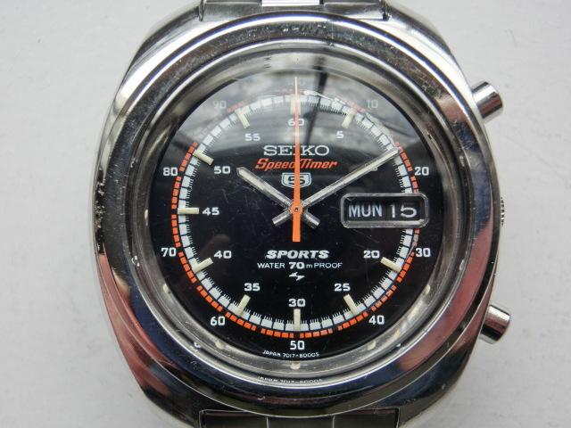 セイコー メンズ腕時計 5スポーツスピードタイマー クロノグラフ オートマチック 自動巻き 7017 黒文字盤_画像1