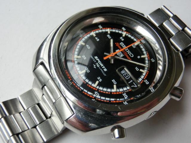 セイコー メンズ腕時計 5スポーツスピードタイマー クロノグラフ オートマチック 自動巻き 7017 黒文字盤_画像2