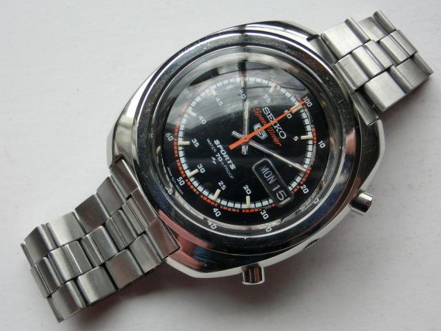 セイコー メンズ腕時計 5スポーツスピードタイマー クロノグラフ オートマチック 自動巻き 7017 黒文字盤_画像3