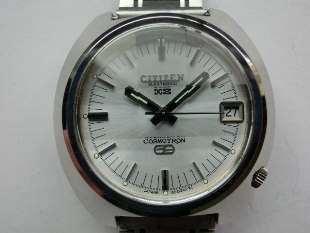 シチズン メンズ腕時計 コスモトロンX8 電磁テンプ式 シルバー色 カットガラス 大きめケース_画像1