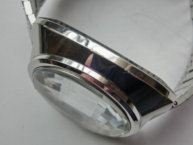 シチズン メンズ腕時計 コスモトロンX8 電磁テンプ式 シルバー色 カットガラス 大きめケース_画像4
