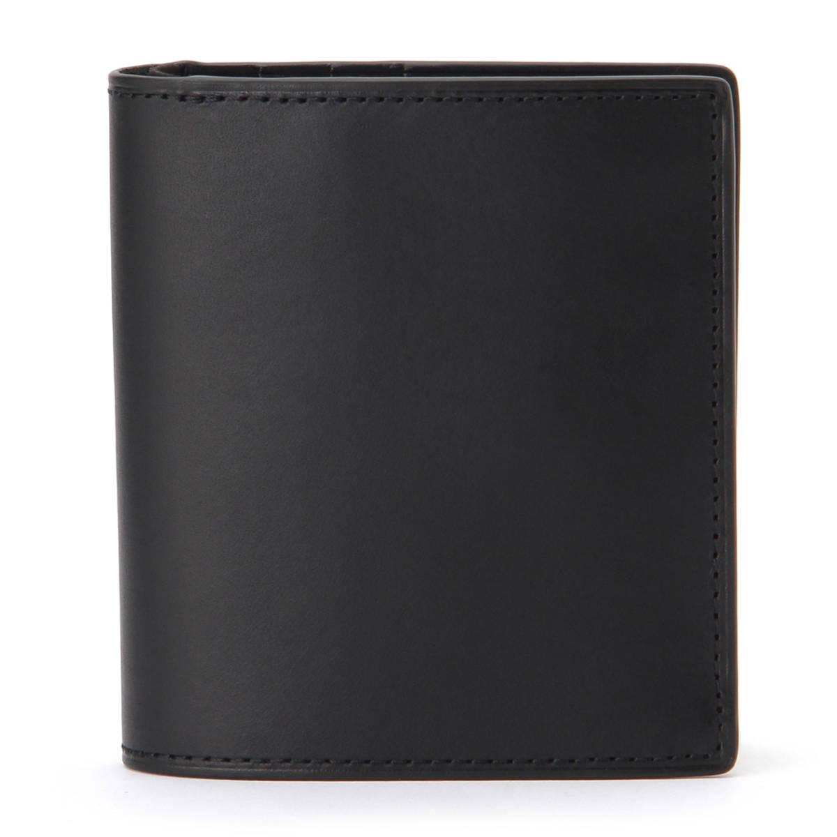 新品 無印良品 MUJI イタリア産 ヌメ革 二つ折り 財布 ブラック 正規品